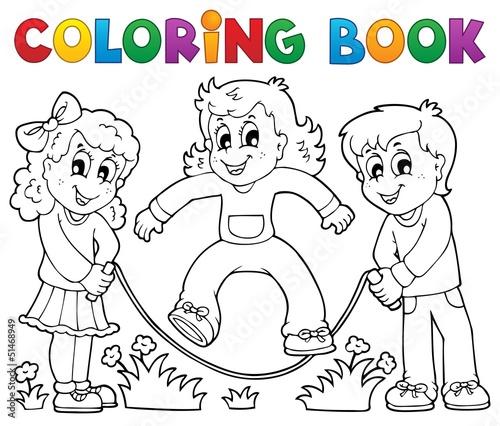 Spoed Foto op Canvas Doe het zelf Coloring book kids play theme 1