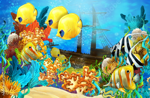 Recess Fitting Submarine The coral reef - illustration for the children