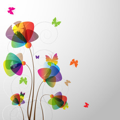 FototapetaFloral Background with butterfly