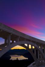 Historic HWY 40 Rainbow Bridge In Truckee, California At Sunrise