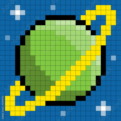 Door stickers Pixel 8-bit pixel ringed planet
