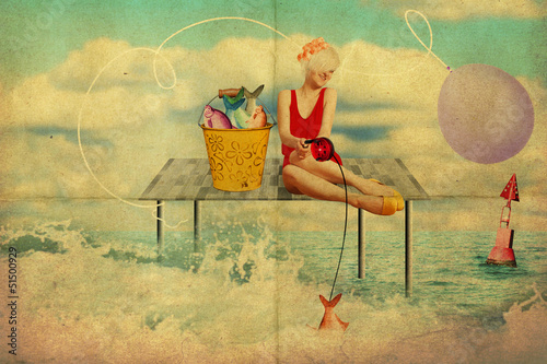 art collage with beautiful woman, retro style - 51500929