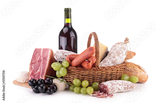 Fotografie, Obraz  wicker basket with sausages, ham and wine