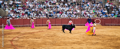 Corrida toreros at the Real Maestranza de Caballeria in Seville,
