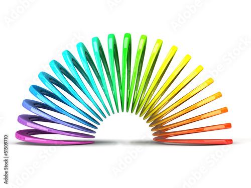 Fotografie, Obraz  Multicolored slinky isolated on white background
