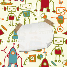 Seamless Doodle Pattern With Colorful Robots And Blank Paper