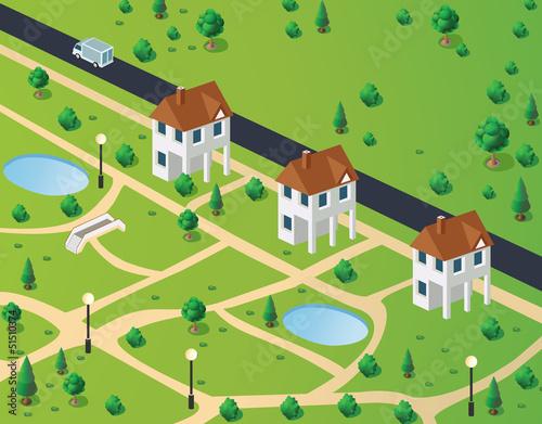 Poster de jardin Route town houses