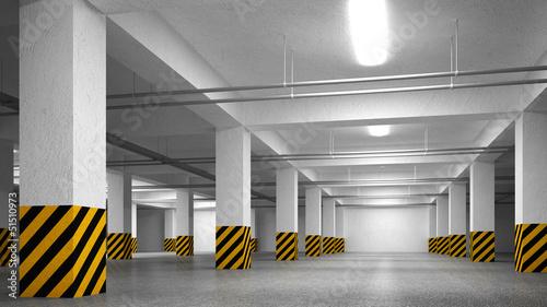 pustego-podziemnego-parking-abstrakcjonistyczna-wewnetrzna-perspektywa