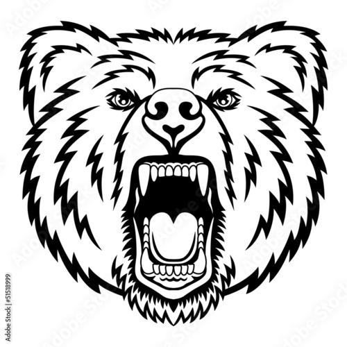 Poster Croquis dessinés à la main des animaux Growling bear