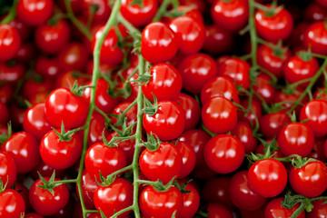 Frische kleine Tomaten kirschtomaten in einer Auslage