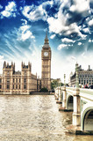 Fototapeta London - Houses of Parliament, Westminster Palace - London gothic archite