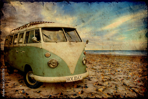 Photo Stands Vintage Poster Retroplakat - Bulli am Strand