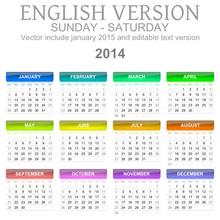 Sunday To Saturday 2014 Calend...