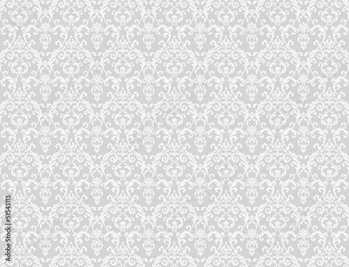 In de dag Retro white floral pattern wallpaper