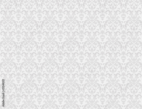 Obraz white floral pattern wallpaper - fototapety do salonu