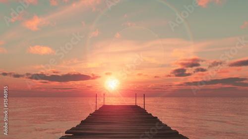 Obraz coucher du soleil sur le ponton - fototapety do salonu