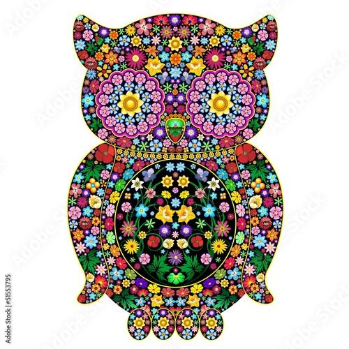 Owl Flowers Ornamental Design-Gufo di Fiori Ornamentale-Vector
