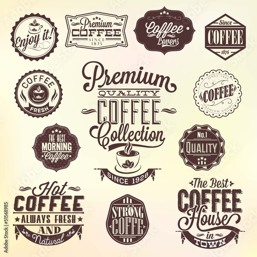 Ταπετσαρία τοιχογραφία Set Of Vintage Retro Coffee Badges And Labels