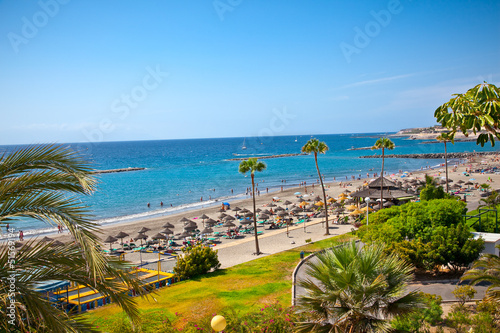 Beach Playa de las Americas on Tenerife, Spain.