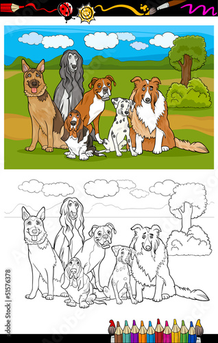 Poster Dogs dogs breeds cartoon for coloring book