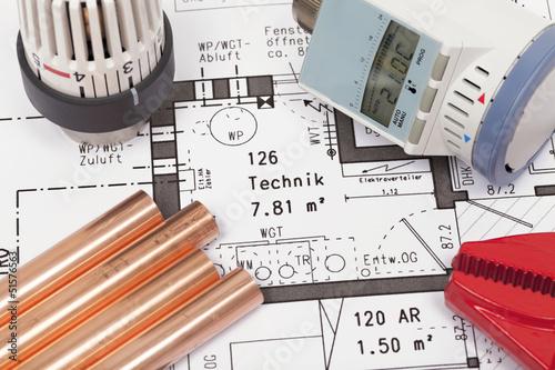 Fotografia  Planung der Heizungsanlage eines Hauses