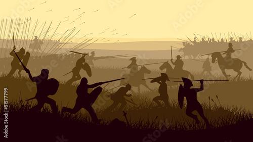 Abstract illustration of medieval battle. Fototapet