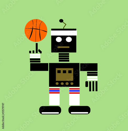 Montage in der Fensternische Roboter cartoon robot playing basketball