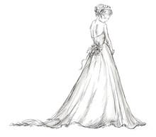Bride. Beautiful Young Girl In A Wedding Dress.