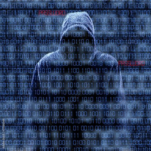 Fotografía  Silhouette of a hacker isloated on black