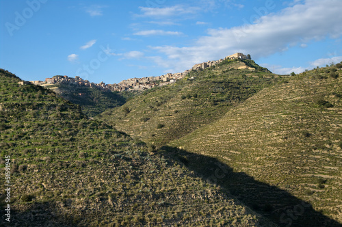 Fényképezés  Mountain Of Sicilian Hinterland And Rocky Village
