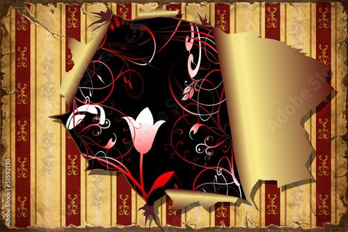 Foto op Plexiglas Vintage Poster 3D Aufgerissene Schwarze Blumen