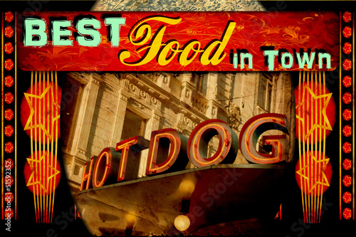 Spoed Foto op Canvas Vintage Poster Retroplakat - Best Food in Town