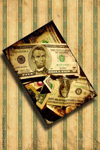 Foto op Plexiglas Vintage Poster Retroplakat - Schräger Dollar