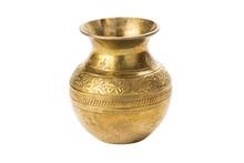 Bronze Yellow Vase On A White Background