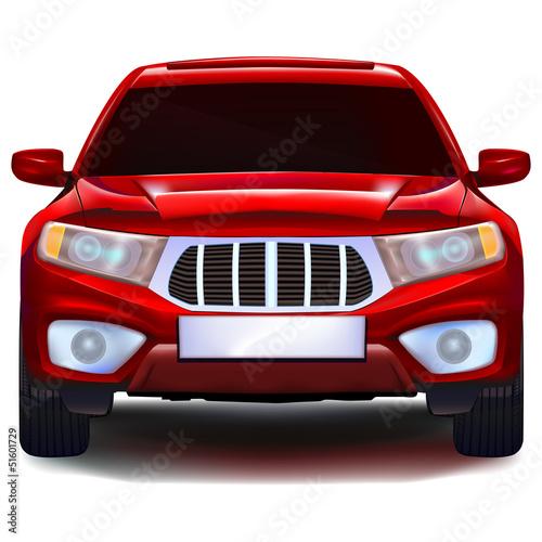 czerwony-crossover-samochod-z-pusta-tablica-rejestracyjna