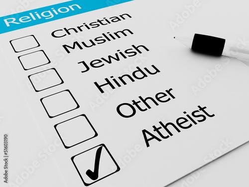 Religious Atheist or Agnostic on checkmark Wallpaper Mural