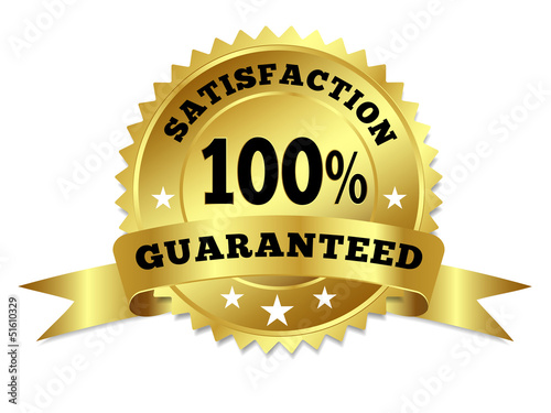Gold Badge Satisfaction Guaranteed With Ribbon Fototapete