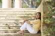 Relaxed confident mature woman outdoor