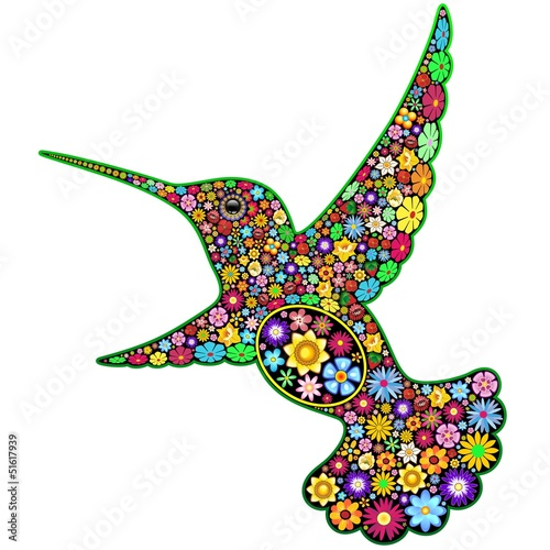 Foto op Canvas Bloemen vrouw Hummingbird Floral Ornamental Art Design-Colibri Arte Floreale