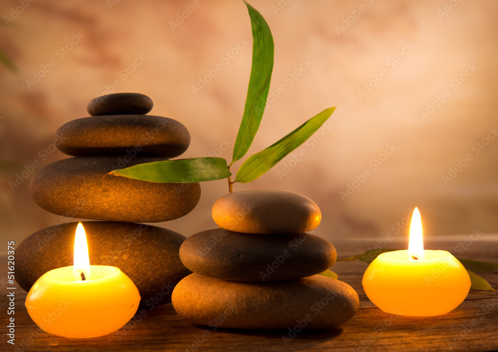 Fototapeta Spa still life with aromatic candles