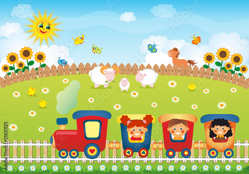 dzieci-jezdza-pociagiem-po-wiosce