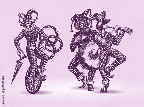 Obraz na plátně Clowns illustration