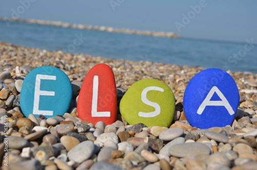 Photo  Elsa, female name on colourful stones