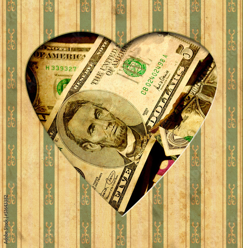 Foto op Plexiglas Vintage Poster Vintage Heart - Dollar