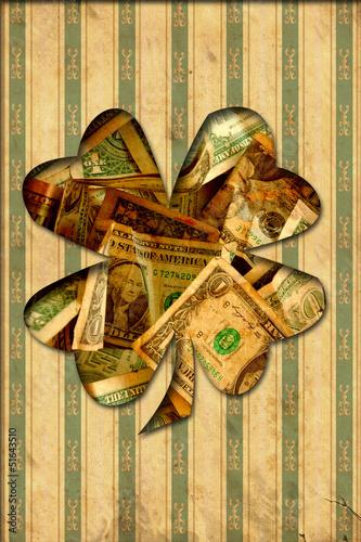 Foto op Plexiglas Vintage Poster Retroplakat - Dollarkleeblatt