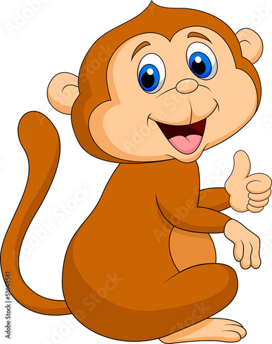 Poster de jardin Zoo Cute monkey thumb up