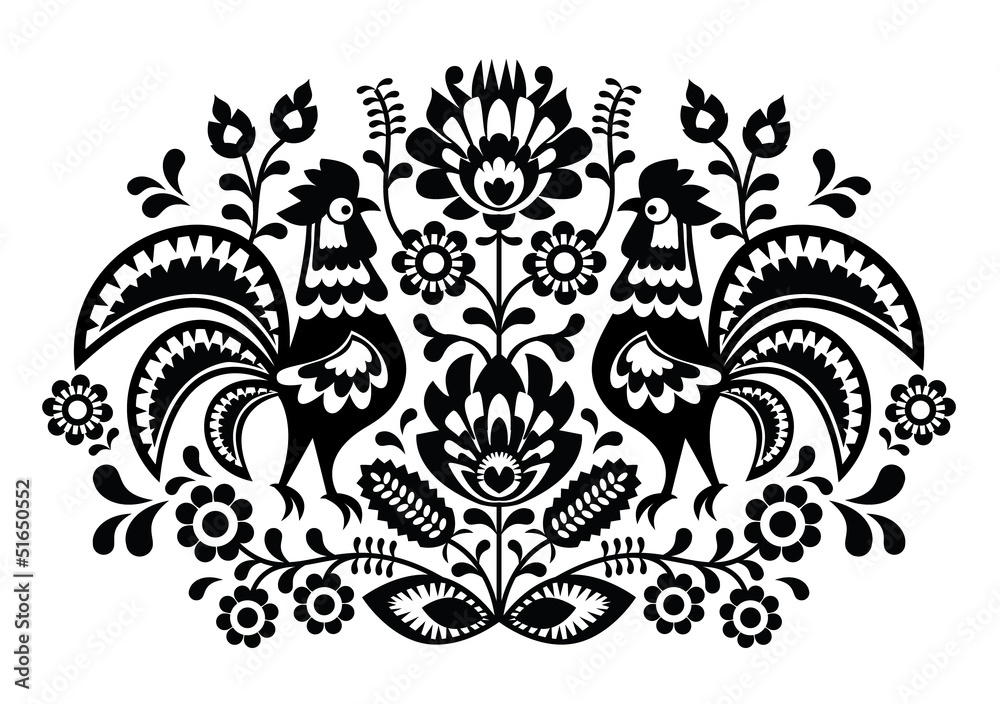 Fototapeta Polish floral embroidery with roosters pattern