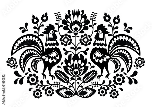 Obraz Polish floral embroidery with roosters pattern - fototapety do salonu