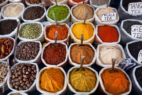 Photo  Indian colored spices