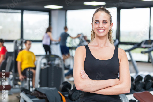 Tablou Canvas Beautiful Young Woman at Gym